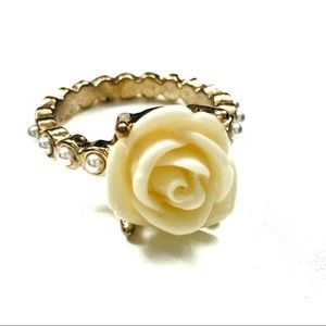 Yellow Rose and Faux Pearl Ring